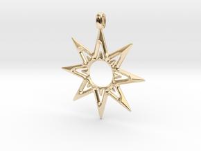 STAR OF VENUS Jewelry Symbol Pendant. in 14k Gold Plated Brass