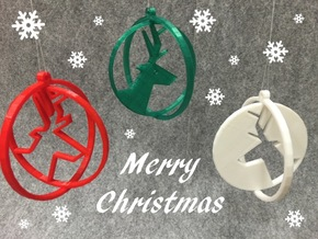 Deer ring 3 for Christmas in White Processed Versatile Plastic