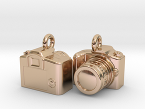 DSLR Camera Earrings / Bracelet Charm in 14k Rose Gold