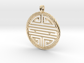 Shou Symbol Jewelry Pendant in 14K Yellow Gold