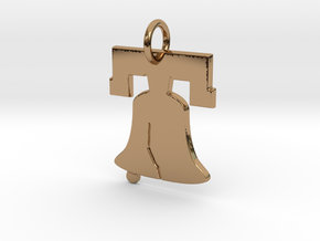 Liberty Bell Pendant Charm in Polished Brass