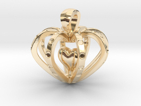 Heart in the Heart pendant in 14k Gold Plated Brass