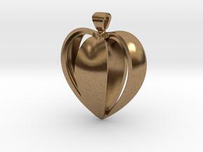 Heart pendant v.1 in Natural Brass