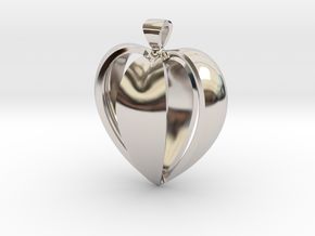 Heart pendant v.1 in Rhodium Plated Brass