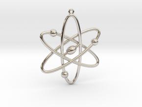 Atom Keychain or Pendant in Rhodium Plated Brass