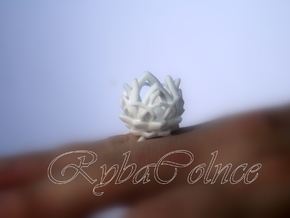 The Lotus Flower Ring / size 7 1/2 US in White Natural Versatile Plastic