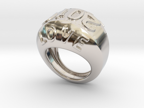 2016 Ring Of Peace 22 - Italian Size 22 in Rhodium Plated Brass