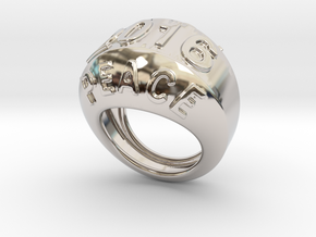 2016 Ring Of Peace 24 - Italian Size 24 in Rhodium Plated Brass