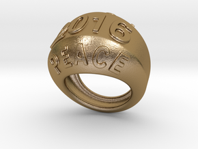 2016 Ring Of Peace 26 - Italian Size 26 in Polished Gold Steel