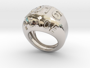 2016 Ring Of Peace 28 - Italian Size 28 in Rhodium Plated Brass