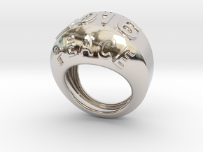 2016 Ring Of Peace 30 - Italian Size 30 in Rhodium Plated Brass