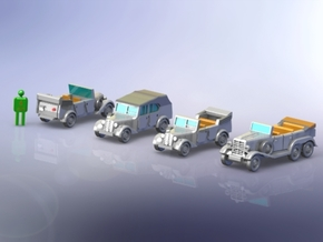 German Mercedes Staff-Cars G4 and 170VK 1/220 in Frosted Ultra Detail