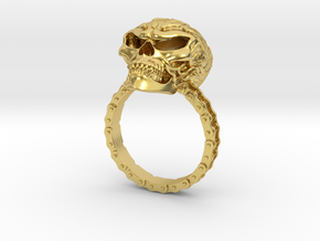 Women's Flaming Skull Ring With Roller Chain in Polished Brass