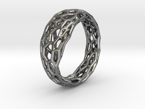 Voronoi ring 1.6cm(interior) in Polished Silver