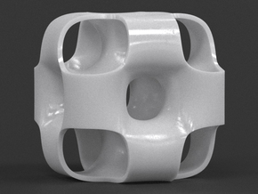 Ported Cube in White Processed Versatile Plastic