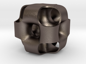 Ported Cube in Polished Bronzed Silver Steel
