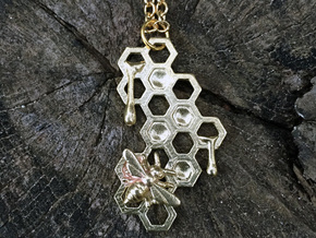 Honey Comb Charm in Natural Brass