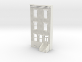 HO SCALE ROW HOUSE FRONT BRICK 3S REV in White Natural Versatile Plastic