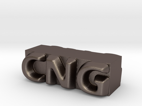 CNG Pendant in Polished Bronzed Silver Steel