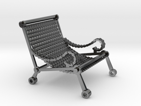 1:12 scale miniature industrial art chair in Fine Detail Polished Silver
