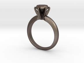 Diamond ring 'Big', size 7us (17,35mm) in Polished Bronzed Silver Steel