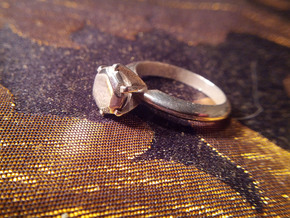 Diamond ring 'Big', Size 5 us (15.7mm) in Polished Silver