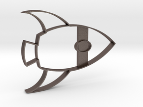 Rocketship Cookie Cutter in Polished Bronzed Silver Steel