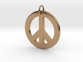 Peace Sign in Polished Brass