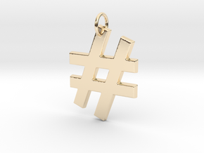 Hashtag in 14k Gold Plated Brass