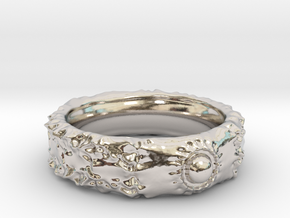 Orb Crater Band - Size: 15 in Rhodium Plated Brass