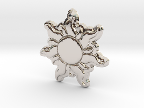 Disney Tangled Sun Flower Necklace Replica Pendant in Rhodium Plated Brass