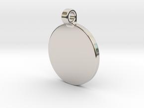 Your embossed pendant, round, 25mm. in Platinum