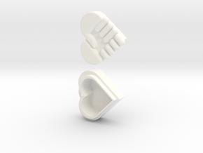 Hand Heart Pendant in White Processed Versatile Plastic