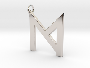 M in Rhodium Plated Brass