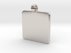 Your embossed pendant, square, 25mm in Platinum