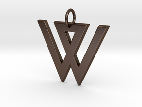 W in Polished Bronze Steel