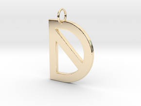 D in 14k Gold Plated Brass
