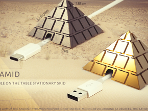 Pyramid - USB cable on the table stationary skid in 18k Gold Plated