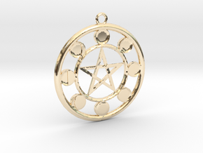 Lunar Phases Pentacle Pendant in 14k Gold Plated Brass