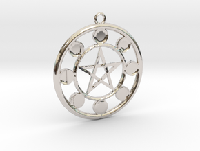 Lunar Phases Pentacle Pendant in Rhodium Plated Brass