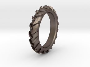 Traktortire Ring - Part 2 in Polished Bronzed Silver Steel