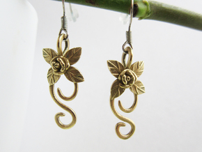 Rose Earrings in Natural Brass