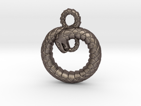 Ouroboros Pendant in Polished Bronzed Silver Steel