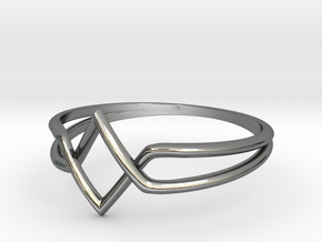 Double V Ring for Vanesa - Size 6 1/2 in Fine Detail Polished Silver