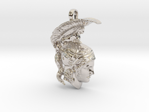 Ares, god of war, pendant in Rhodium Plated Brass