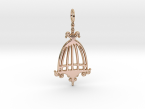 Elegant Birdcage Pendant in 14k Rose Gold Plated Brass