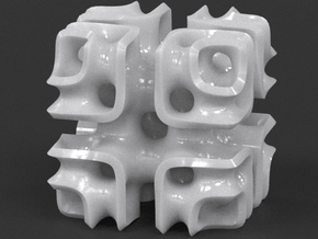 Cubic Lattice in White Processed Versatile Plastic