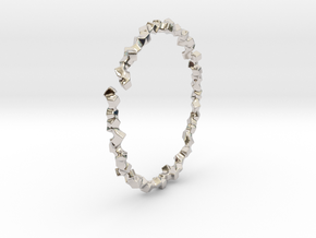 Bracelet of Cubes No.2 in Rhodium Plated Brass
