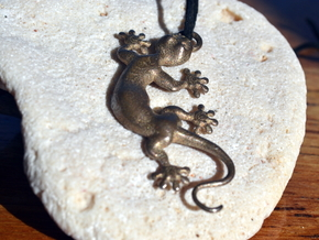 Cute Little Gecko Pendant for Animal Lovers in Polished Bronzed Silver Steel