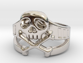 Space Captain Harlock | Ring Size 8 in Rhodium Plated Brass: 8 / 56.75